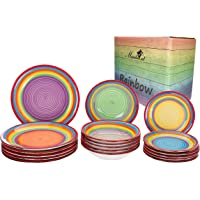 18pc. Set d'assiettes Ibiza Arc-en-Ciel pour 6 pers. Vaisselle colorée Assiette à gâteau Petite + Assiette Plate…