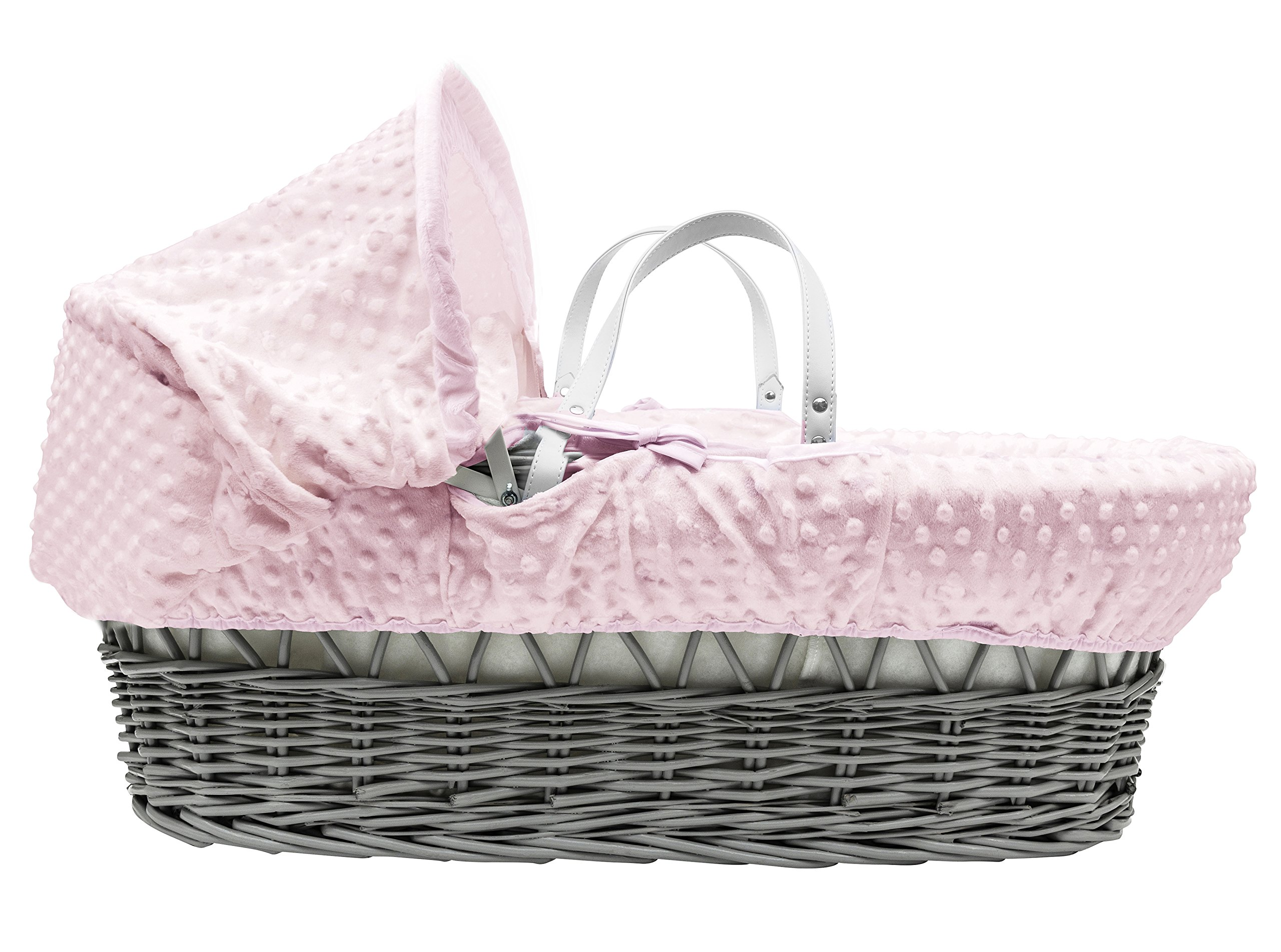 Pink Dimple Grey Wicker Padded Moses Basket & Deluxe Grey Rocking Stand Elegant Baby Suitable from newborn for up to 9kg, this Moses Basket uses Easy-care Poly Cotton with a soft padding surround Suitable from newborn to 9 months It also includes a comfortable mattress and an adjustable hood perfect to create a cosy sleeping space for your precious little one 2