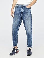 FIND Herren Kurz Geschnittene Weite Jeans mit Mittlerem Bund
