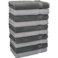 Betz Lot de 10 Serviettes débarbouillettes lavettes Taille 30x30 cm en 100% Coton Premium Couleur Gris Anthracite & Gris…