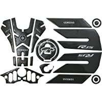 AutoMopix Carbon Tank Pad Scratch Protector Fuel Cap Protector Decals Sticker with Side Knee Pad for Yamaha R15 V3 Tank Pad