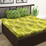 Divine Casa 100% Cotton Abstarct Print Mix N Match Bedsheet for Double Bed (Yellow)