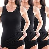 HERMKO 1325 Kit de Tres Camisas Interiores para Mujer, Hechas de algodón orgánico 100% Tank Top en Talla Grande