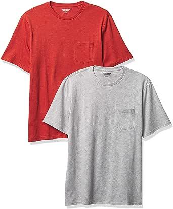 Amazon Essentials 2-Pack Regular-Fit Crew Pocket T-Shirt Fashion-t-Shirts Uomo (Pacco da 2)