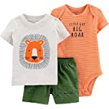 Carter's Baby Boys' 3-Piece Little Short Sets/Hippo (9 Months, Lion Orange/Green)