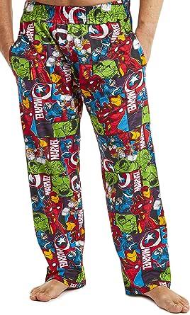 Marvel Mens Pyjamas, Avengers Lounge Pants Men with Captain America Iron Man Thor and Hulk, 100% Cotton Nightwear Mens Pjs Bottoms, Official Merchandise Gifts for Men Teenage Boys