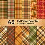 Whaline Lot de 12 feuilles de papier à motif écossais - Orange marron vert - Format A5 - Papier origami double face - Pour la