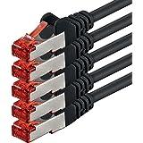 3m - Noir - 5 pièces - CAT6 Câble Ethernet Set - Câble Réseau RJ45 10/100 / 1000 Mo/s câble de Patch LAN Câble |Cat 6 S-FTP PIMF 250 MHz Compatible avec Cat 5 / Cat 6a / Cat 7