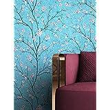 NEWROOM behang blauw vliesbehang bloemen - bloemenbehang bloemen roze kersenbloesem bomen bladeren tropisch incl. behanggids