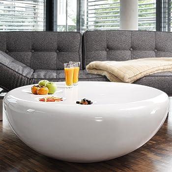 Salesfever Couch Tisch Weiss Hochglanz Rund Aus Fiberglas Durchmesser 100cm Trisk Super Stylischer Wohnzimmer Tisch Im Retro Design Glas Weiss 100
