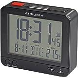 ATRIUM radiostyrd väckarklocka digital svart med belysning, snooze, datum- och temperaturdisplay A760-7.