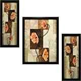 3 PC Set of Floral Paintings (1057) Without Glass 5.2 X 12.5, 9.5 X 12.5, 5.2 X 12.5 inch