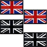 4 Pieces Tactical British Union Flag Patch Hook Backing Patch Britain Union Sew On Patch for T-Shirts Hat Jackets Clothes