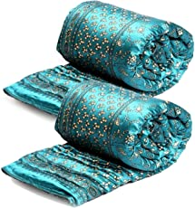 Cloud Mart Jaipuri Silk Traditional Razai/Rajai/Quilt with Golden Floral Print (Deep Blue, Standard Size) - Set of 2