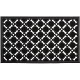 Relaxdays 10020193 Paillasson en caoutchouc antidérapant tapis de sol porte entrée avec motif grille résistant aux intempérie
