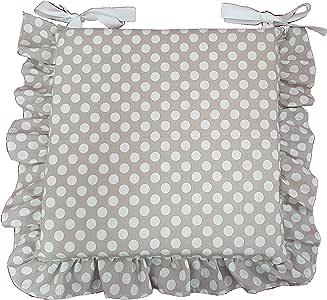 Set 4 cuscini beige pois bianco, con volant 40x40 spessore 5 cm, copri sedia cucina, Euronovità