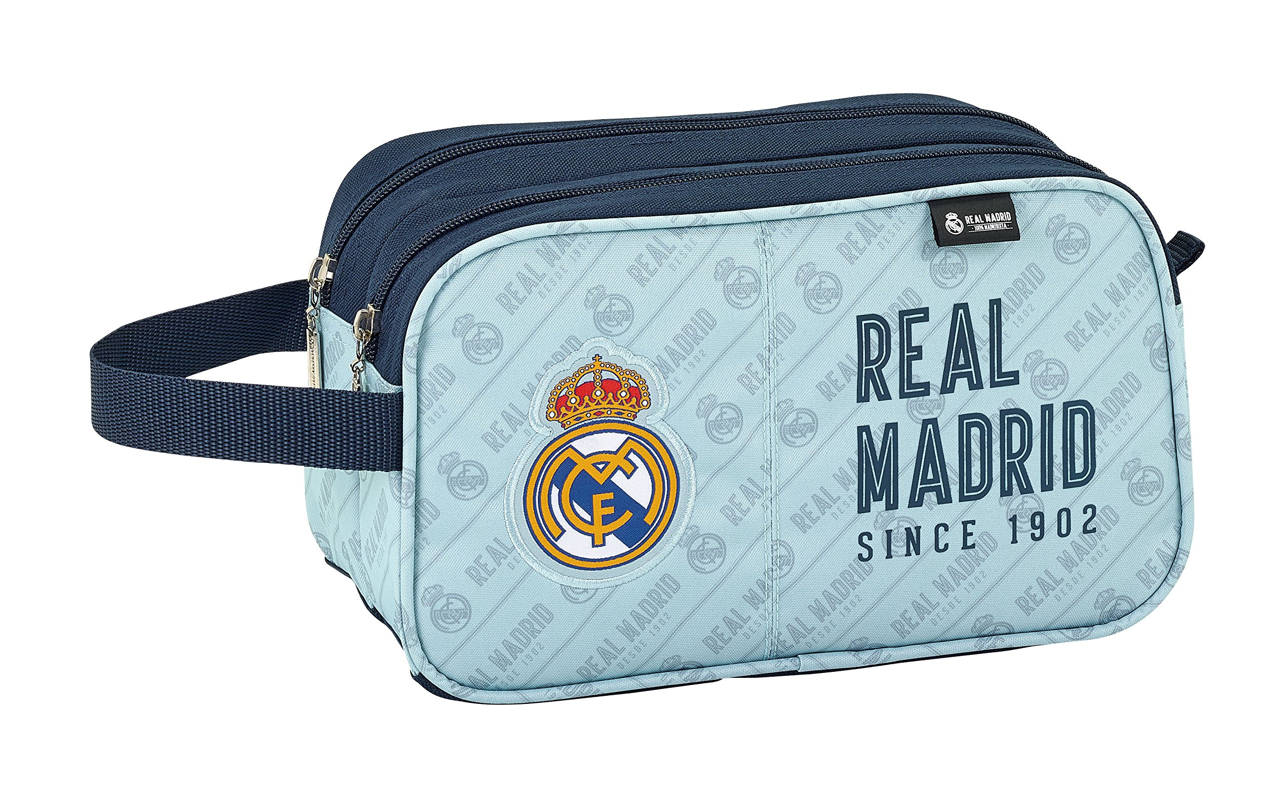 Real Madrid- Neceser, Color Gris y Azul Marino, 26 cm (811824518)