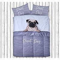 Sleepdown - Set di biancheria da letto con copripiumino e federe per letto matrimoniale, motivo: carlino di giorno