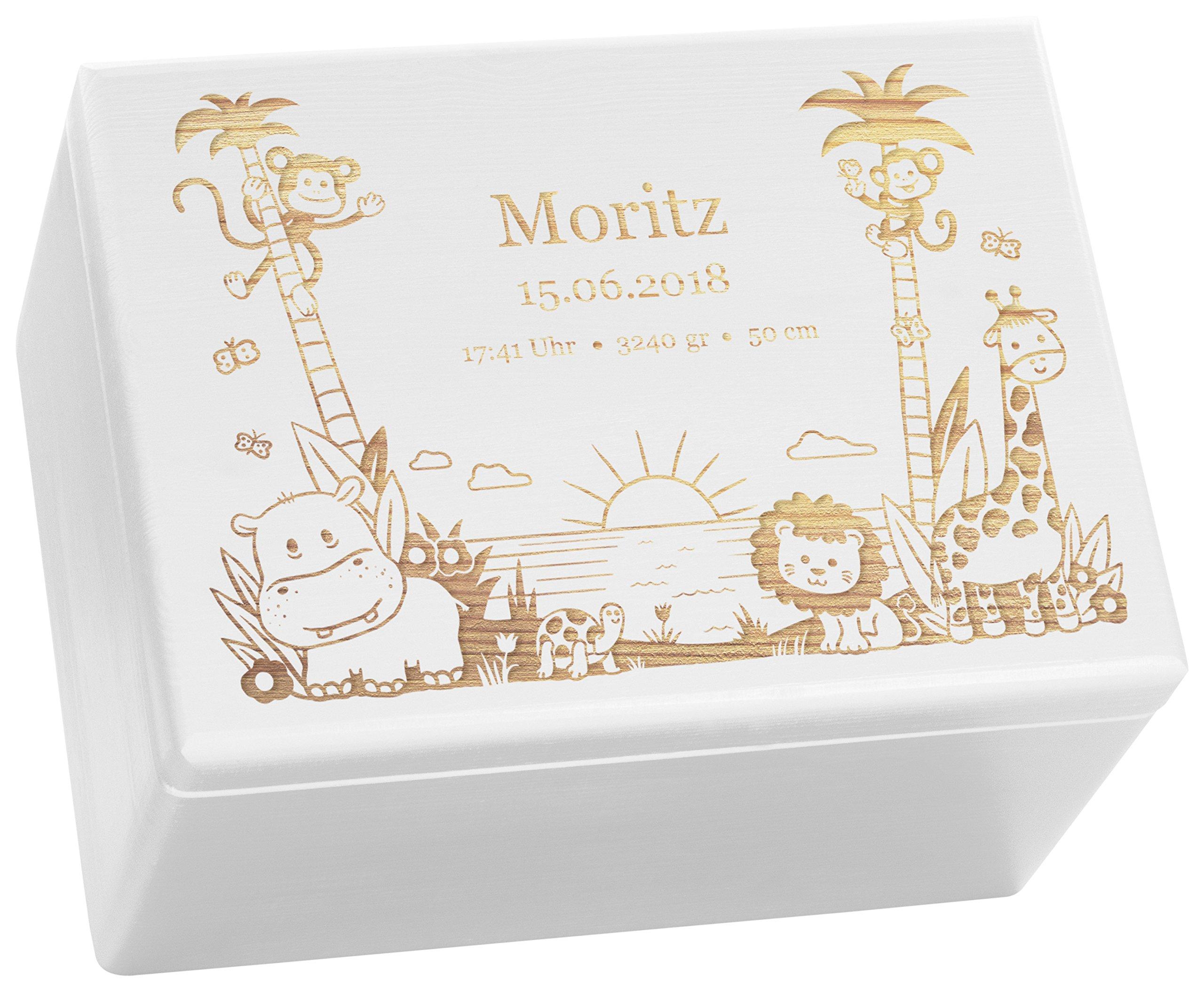 LAUBLUST Holzkiste mit Gravur - Personalisiert mit ❤️ GEBURTSDATEN ❤️ - Weiß, Größe XL - Dschungel Motiv…