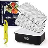 KitchenBe1 - Râpeuse Cuisine et Boîte avec Couvercle et Éplucheur, Boîte de Rangement avec Pieds de Protection en Caoutchouc,