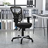 Flash Furniture Kontorsstol med medelhögt ryggstöd – ergonomisk skrivbordsstol med justerbara armstöd och nättyg – perfekt fö