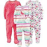 Simple Joys by Carter's Pyjama ajusté en Coton avec Pieds Bébé Fille, Lot de 3