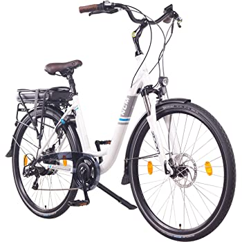 "NCM Munich Bicicleta eléctrica Urbana, Bici de Paseo, 250W, Batería 36V 13Ah 468Wh, (28"" Blanco)"
