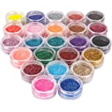 Glitterpoeder,Glitter Tattoo Kit, Tijdelijke Glitters,met 24 Kleuren,Veelkleurige Glitter, Set Gekleurd Glitterpoeder voor De