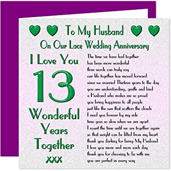 My Husband 13th Wedding Anniversary Card On Our Lace Anniversary