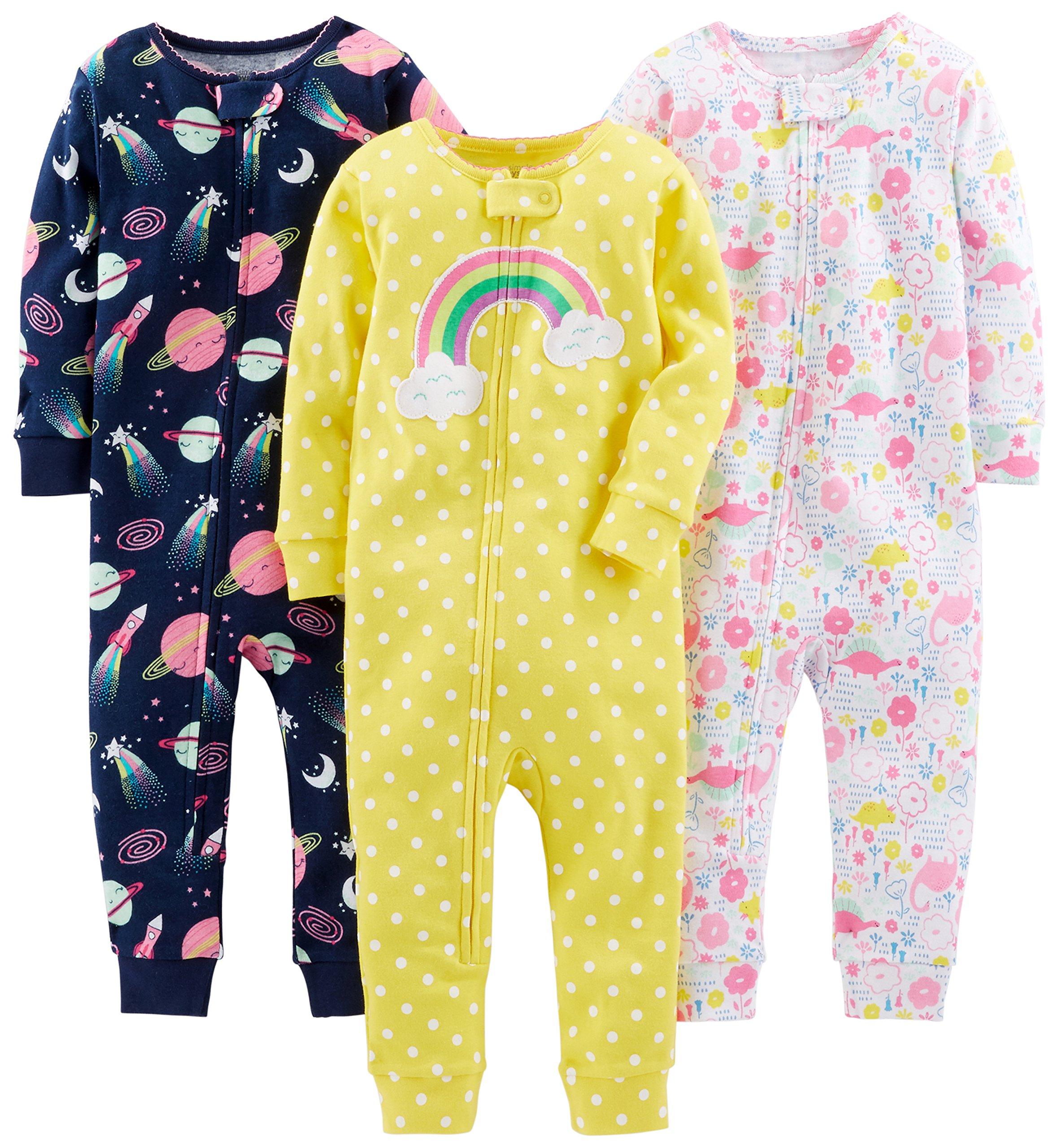 Simple Joys by Carter's 3-Pack Snug Fit Footless Cotton Pajamas Bebé-Niñas 1