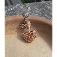 Bottiglietta a forma di cuore con granelli di senape, Ciondolo cristiano, Gioiello fede
