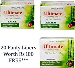 Ultimate BIODEGRADABLE Ultra Thin Soft 34 Pcs Sanitary Pads- Napkins With ANION Chips And 7 Layers Protection (Size: Medium-240mm-17pcs+ Large-280mm-12pcs +XL-340mm-5pcs) + 20 Panty liners Worth Rs.100 FREE