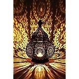 Marrakesch Orient & Mediterran Interior Lanterna portacandele Orientale in Metallo - Portacandele per Giardino - Lamis Nero -