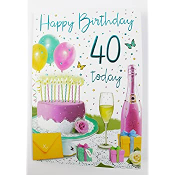 Happy 40th Birthday Card For Her Ladies Womens Friend Quality Age Verse Female