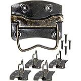 FUXXER® - 4 x antieke klapgrepen, handgrepen inklapbaar voor kisten, kisten, commodes, antiek bronzen messing design, 76 x 72