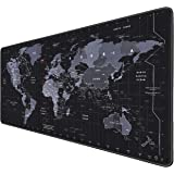 RiaTech Extra Large Size (900mm x 400mm x 2mm) World Map Print Extended Gaming Mouse Pad with Stitched Embroidery Edges, Non-