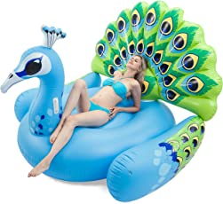 JOYIN Giant Inflatable Peacock Pool Float, Fun Beach Floaties, Swim Party Toys, Pool Island, Summer Pool Raft Lounge for Adults & Kids