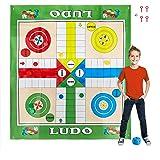 Relaxdays Ludo XXL, 10030902, groot bordspel mat, inclusief 16 speelstenen, 2 dobbelstenen en 4 haringen, Garden Ludo, 160 x