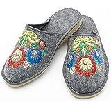 Absoft, pantofole da donna, 100% feltro con ricamo, motivo floreale, Grigio (grigio.)