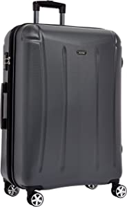 Amazon Brand - Solimo 78 cm Hardsided Luggage with TSA Lock, Grey