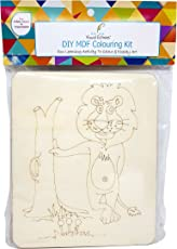 Visual Echoes DIY Lion Design Colouring Kit Little Art Gallery - MDF Board with Drawing Outline, Essel, Water Color, and Paint Brushes.