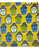 Cotton Kalamkari Handblock Saree Blouse/Kurti Fabric 100 cms - Budda Print - Yellow Colour