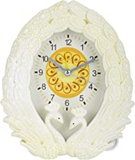 Bazaar Pirates Swan Shape Plastic Desk Clock, Alarm Clock, Table Clock, Table Watch Or Clock, Table Clock With Alarm (Small) (13 cm x 4 cm x 16 cm, Off-White)