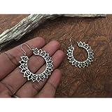 Antique hoops earrings,Indian galactic hoops floral mandala earrings,Egyptian jewellery,Boho Earrings,silver hoop…