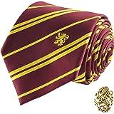 Cinereplicas - Harry Potter - Corbata con Broche - Edición Deluxe - Licencia Oficial - Casa Gryffindor - Talla Única – 100 %
