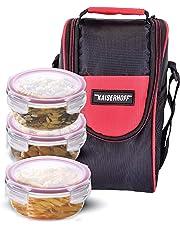 Kaiserhoff Round Glass Lunch Box Set, 400 ml, Set of 3, Clear