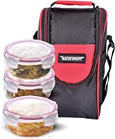 Kaiserhoff Round Glass Lunch Box Set, 400 ml, Set of 3, Clear