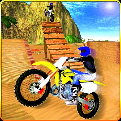 Bike Race Beach Stunt Mania 3D -