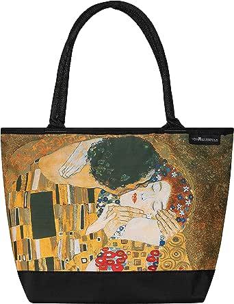 VON LILIENFELD Handtasche Damen Kunst Motiv Gustav Klimt Der Kuss Shopper Maße L42 x H30 x T15 cm Strandtasche Henkeltasche Büro