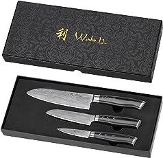Wakoli 3DM-MIK 3er Damastmesser Set, Japanischer Damaststahl VG-10, Mikata